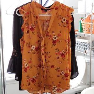 Beautiful marigold floral sleeveless blouse